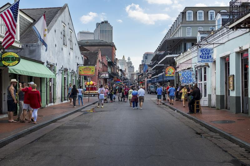 Tourist at at the Bourbon Street, in the French Quarter of the city of New Orleans, Louisiana stock photos
