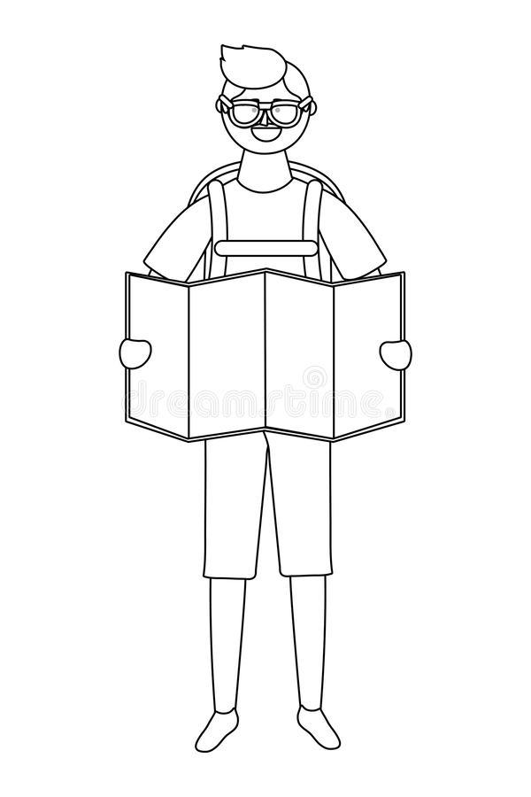 Tourist boy cartoon with bag design vector illustration