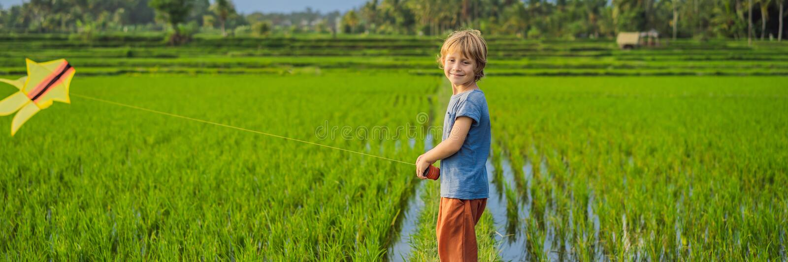 Tourist boy launches a kite in a rice field. Traveling with children concept. Kids friendly place BANNER, LONG FORMAT royalty free stock image