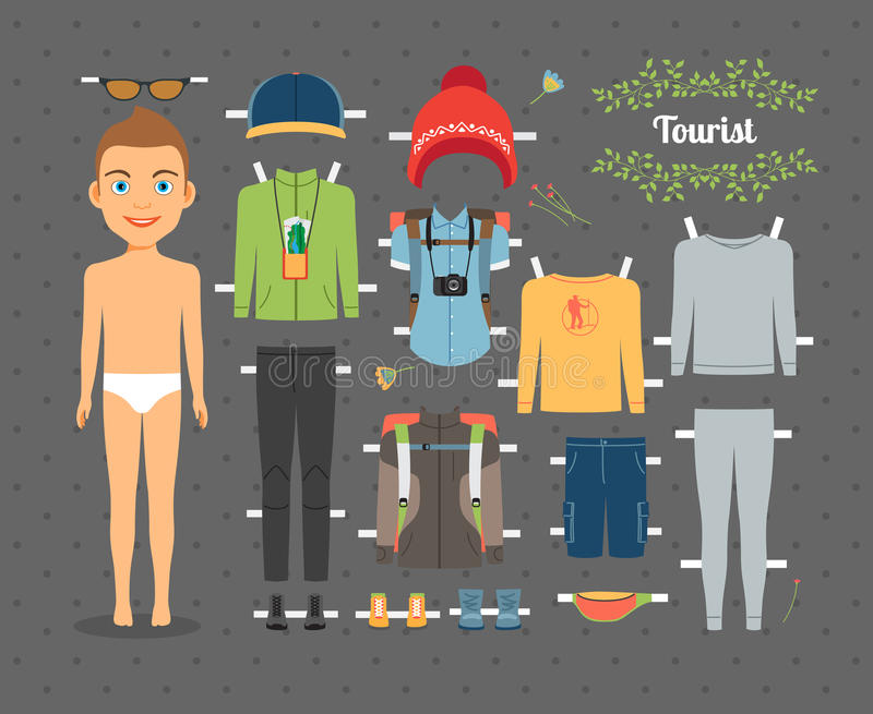 Tourist Boy Paper Doll with Clothes and Shoes vector illustration