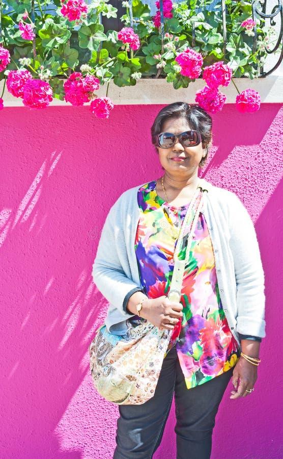 Download Tourist in Burano Venice. stock photo. Image of female - 24981130