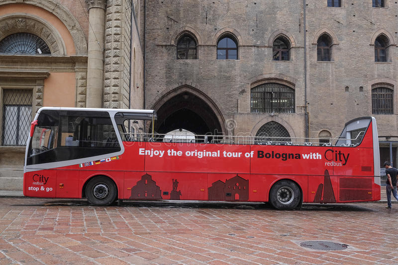 Tourist bus in a center of Bologna stock images