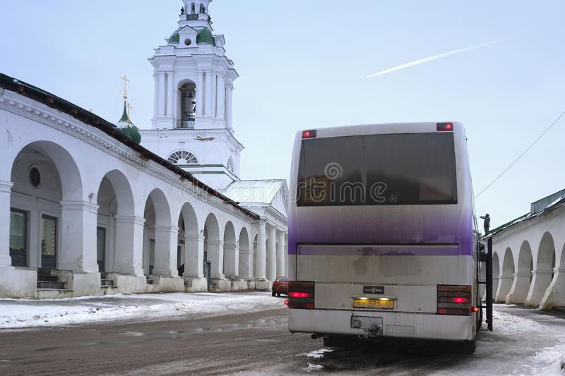 Tourist bus in a center of Kostroma royalty free stock photo