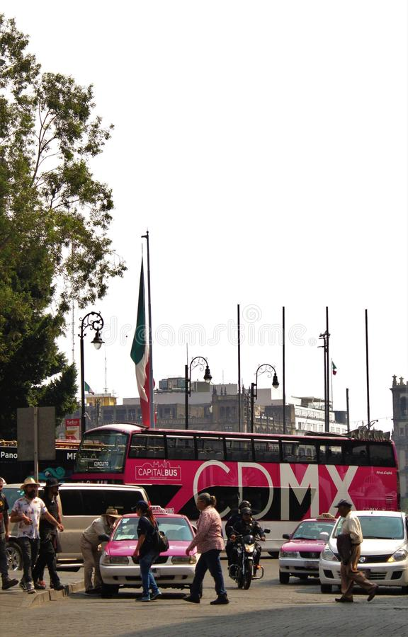 Tourist bus in Mexico City stock photography