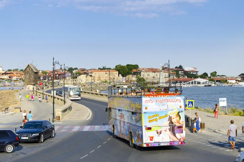 Tourist bus in the old town of Nesebar, Bulgaria royalty free stock images