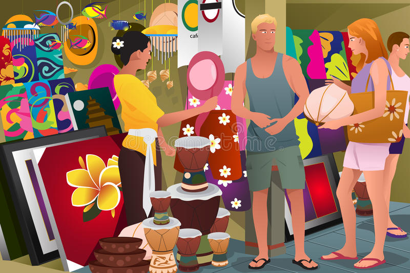 Tourist Buying Souvenir vector illustration
