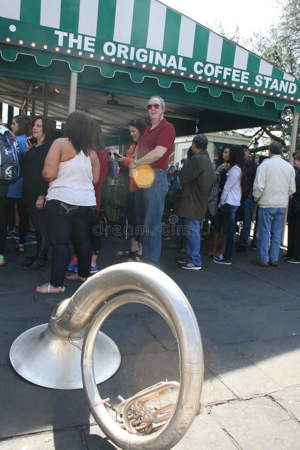 Tourist at Cafe Du Monde stock photography