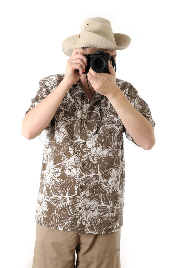 A tourist with camera stock photo