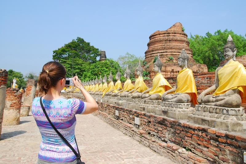 Tourist with camera in front stock photo