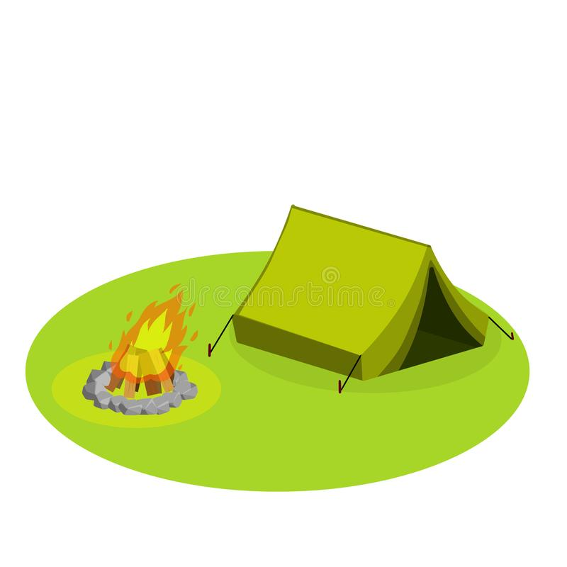Yellow tent on white background-vector illustration. Tourist camp on the green lawn. Outdoor activities. Expedition to the forest. Fire for cooking. Shelter and royalty free illustration