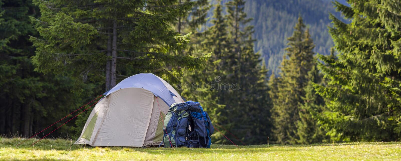 Tourist camp on green meadow with fresh grass in Carpathian mountains forest. Hikers tent and backpacks at camping site. Active li stock photos