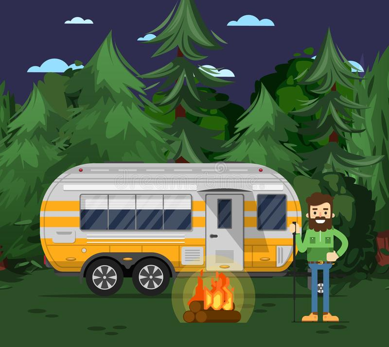 Tourist camp poster with travel trailer royalty free illustration