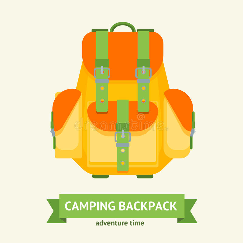 Tourist Camping Backpack Card. Vector royalty free illustration