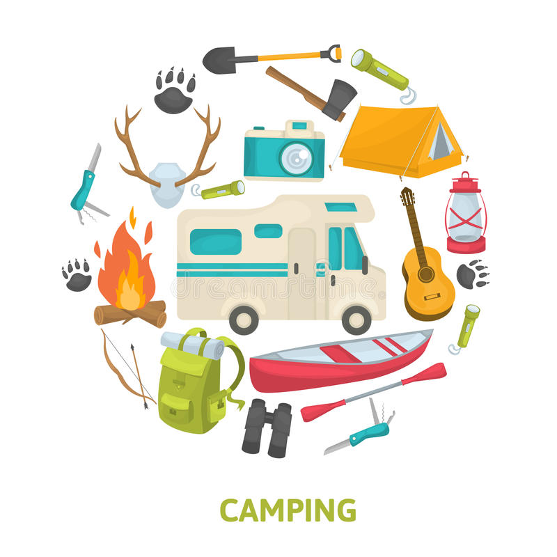 Tourist Camping Decorative Icons Set. In circle shape with travel tools house trailer boat isolated vector illustration royalty free illustration