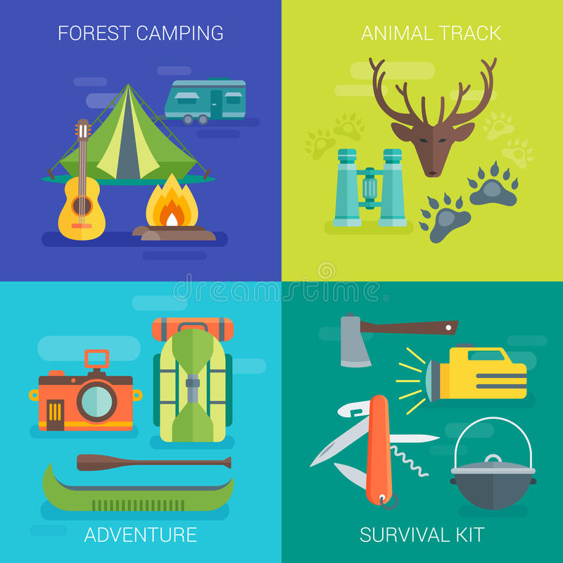 Tourist Camping Flat Compositions vector illustration