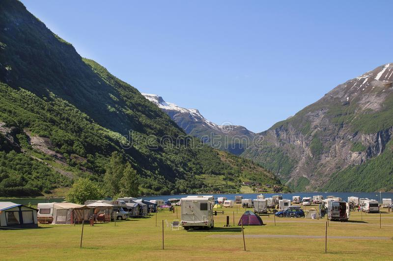Tourist camping in Geiranger, Norwegian. Family trip by car, royalty free stock photo