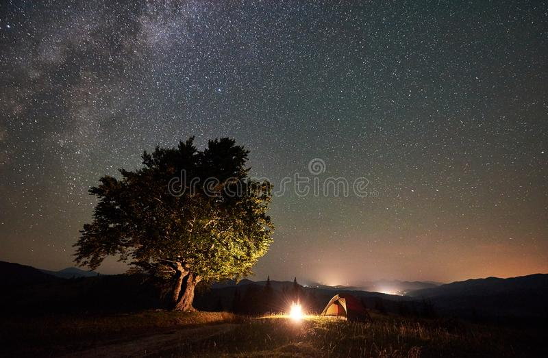 Tourist camping at night in the mountains under starry sky. Tourist camping near big tree at night in the mountains. Tourist tent and campfire under beautiful royalty free stock images