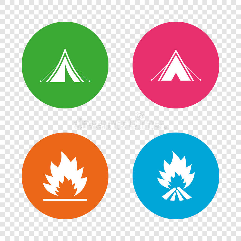 Tourist camping tent signs. Fire flame icons. Tourist camping tent icons. Fire flame sign symbols. Round buttons on transparent background. Vector stock illustration
