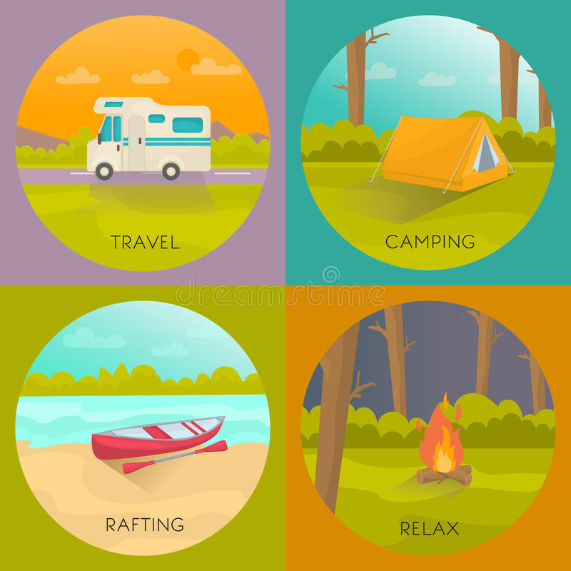 Tourist Campings Concept. With house trailer tent in forest boat on beach night bonfire vector illustration vector illustration