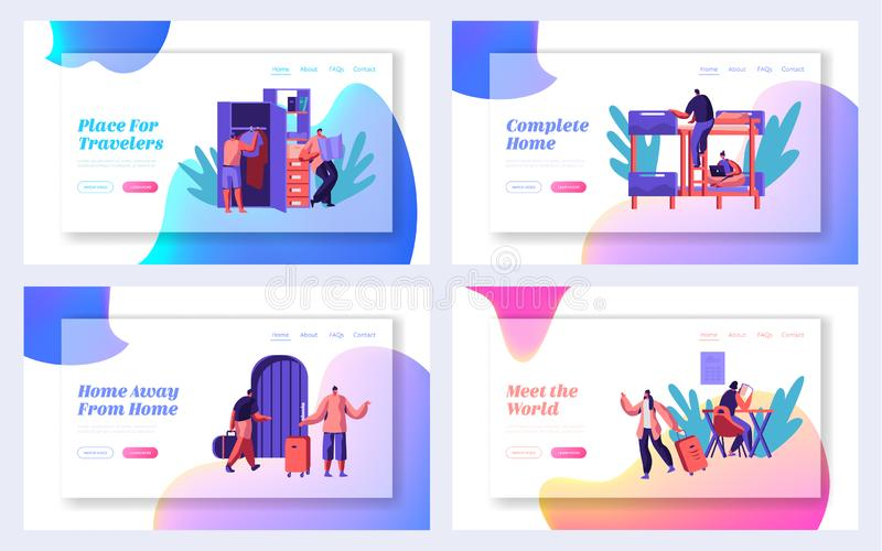 Tourist Character with Bag Arrive to Hostel Building Landing Page Set. International Travel Concept Website or Web Page. People Booking Hotel for Holiday Flat royalty free illustration