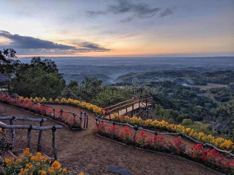 Tourist charm Puncak Songgo Langit, Mangunan, Yogyakarta during sunrise.  royalty free stock images