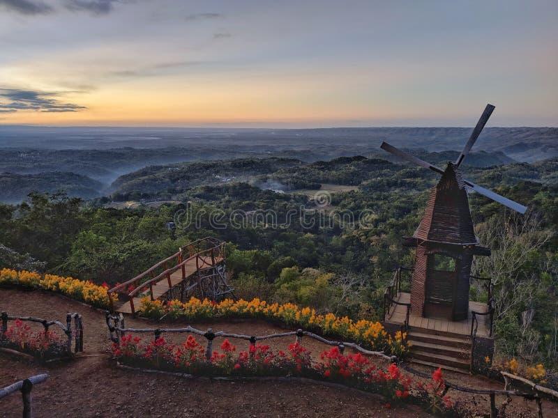 Tourist charm Puncak Songgo Langit, Mangunan, Yogyakarta during sunrise.  stock photography
