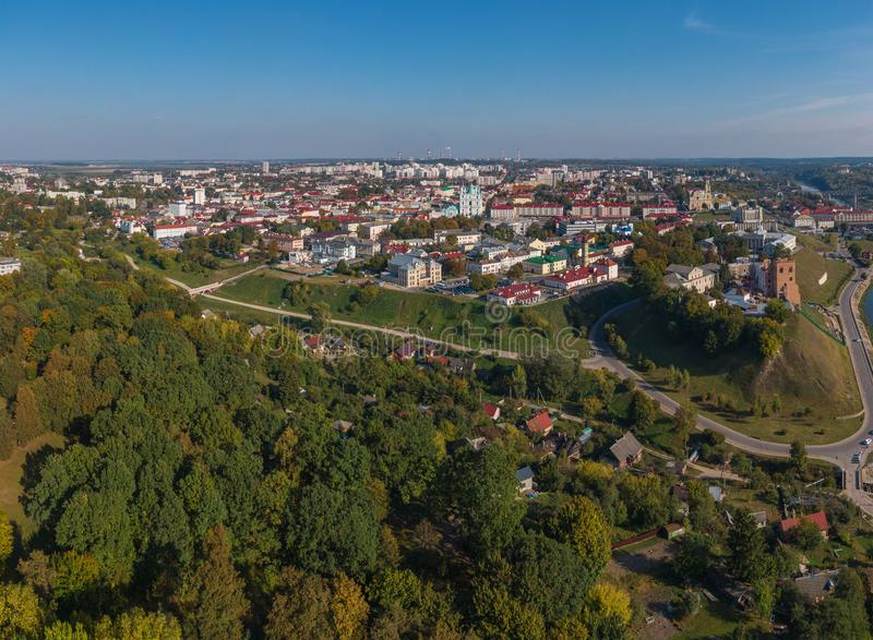 Tourist city of Grodno in Belarus. Shot on a drone royalty free stock images