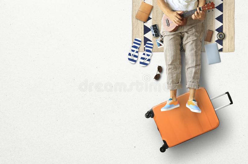 Tourist concept, a man with guitar stock photo