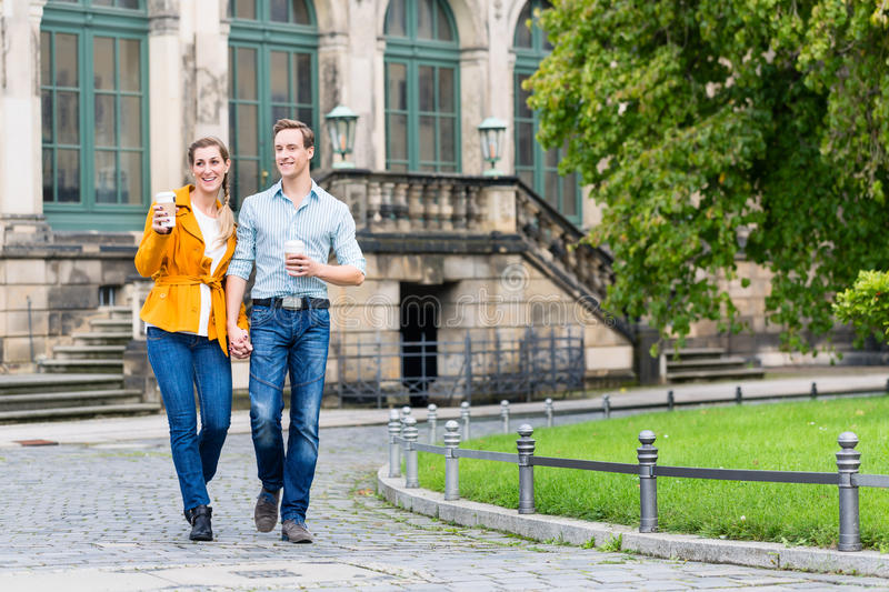 Tourist couple in Dresden royalty free stock photo