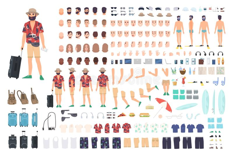Tourist creation set or DIY kit. Collection of cartoon character s body parts, face with different emotions and skin vector illustration