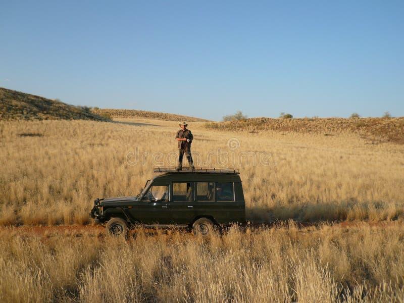 Tourist in Damaraland in Namibia stock photo