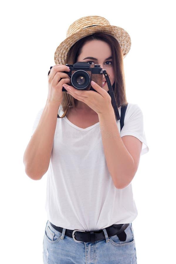 Tourist der jungen Frau mit der Kamera lokalisiert auf Weiß stockbild