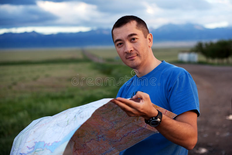 Download Tourist exploring the map stock image. Image of road - 17259449