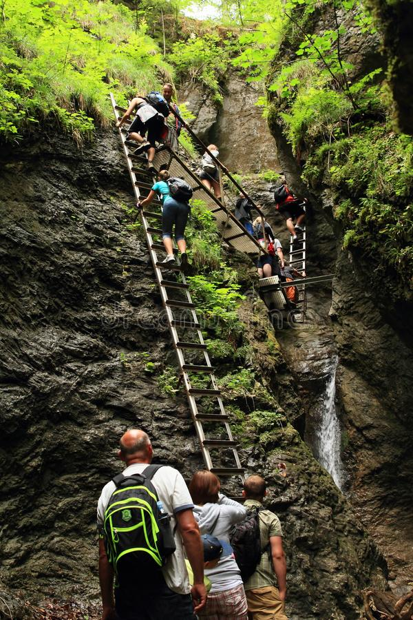 Tourists climbing iron ladders in Slovak Paradise royalty free stock images