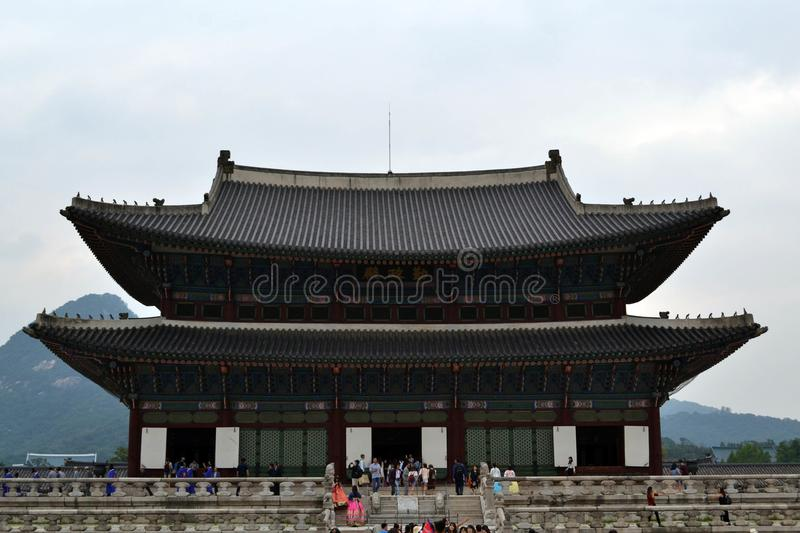 Tourist flocking to Seoul Northern Palace Gyeongbokgung. Pic w. As taken in August 2017 royalty free stock images