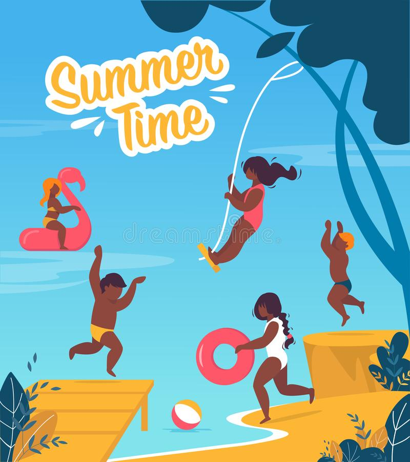 Tourist Flyer is Written Summer Time Cartoon. Summer Colorful Banner Childrens Summer Camp at Water. Poster Happy Children Jump and Have Fun on Coast Sea or stock illustration