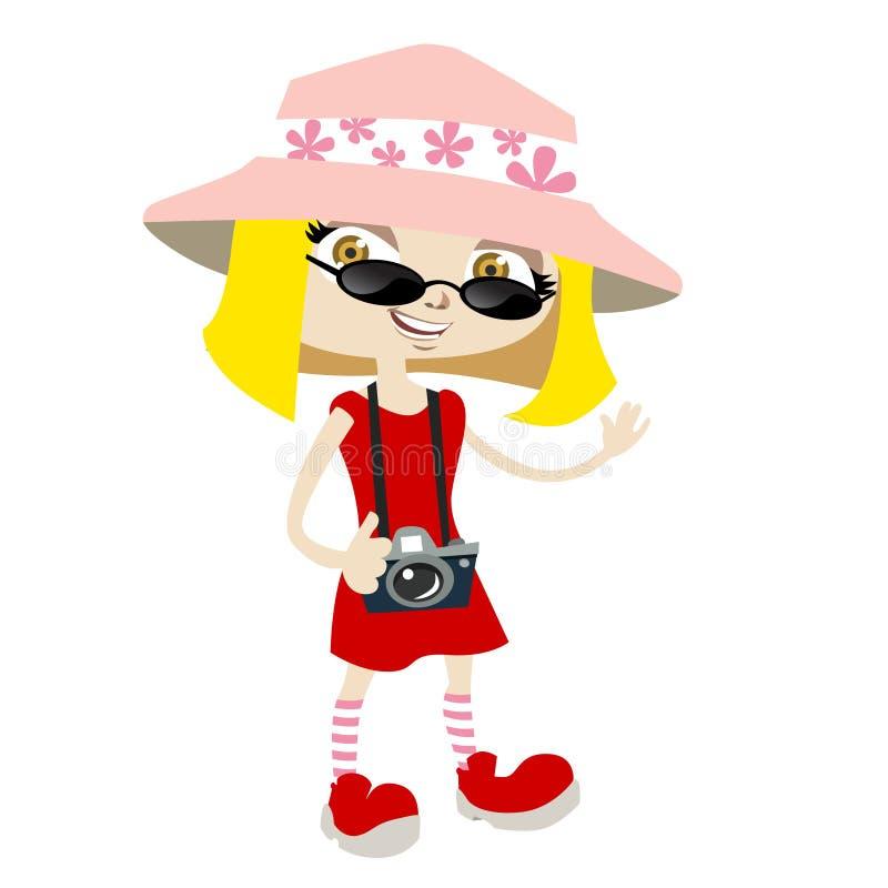 Tourist girl vector illustration
