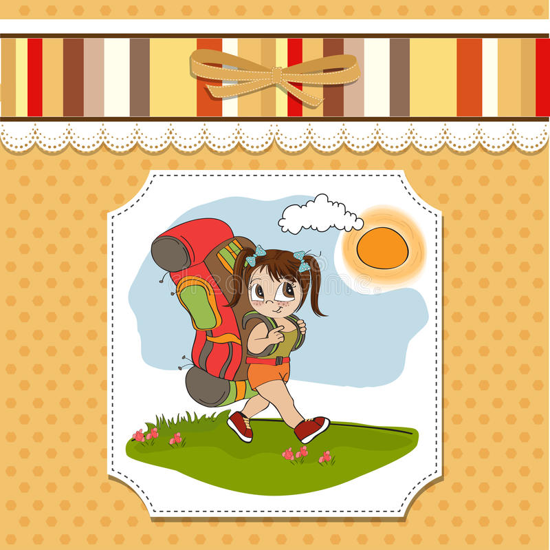 Download Tourist girl with backpack stock vector. Image of pants - 25298926
