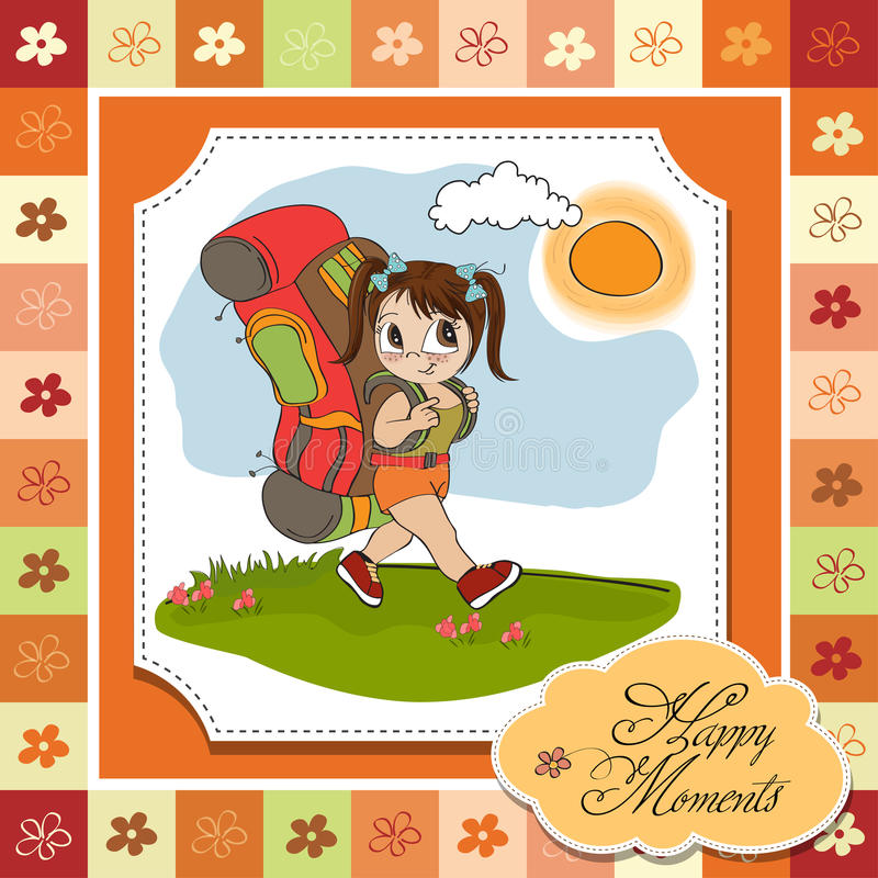 Download Tourist girl with backpack stock illustration. Illustration of freedom - 25298928