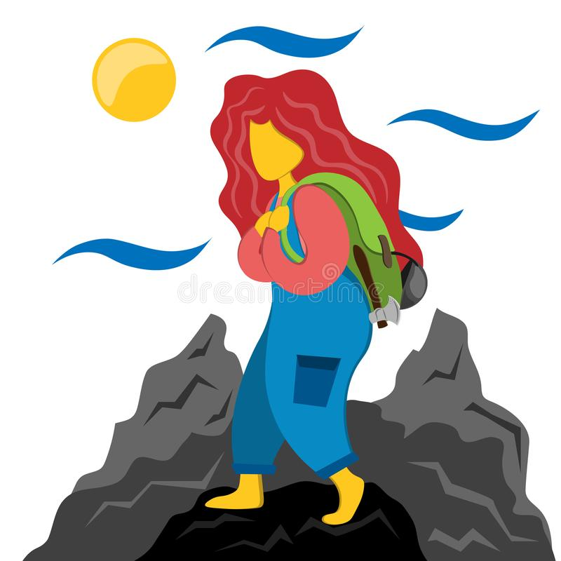 Tourist girl with a backpack is engaged in tracking. Illustration in flat style. vector illustration