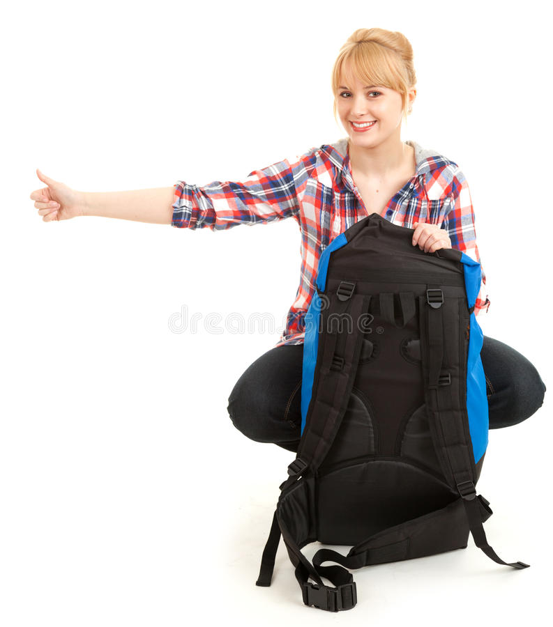 Download Tourist Girl With Backpack, Stopping Car Stock Photo - Image: 25194974