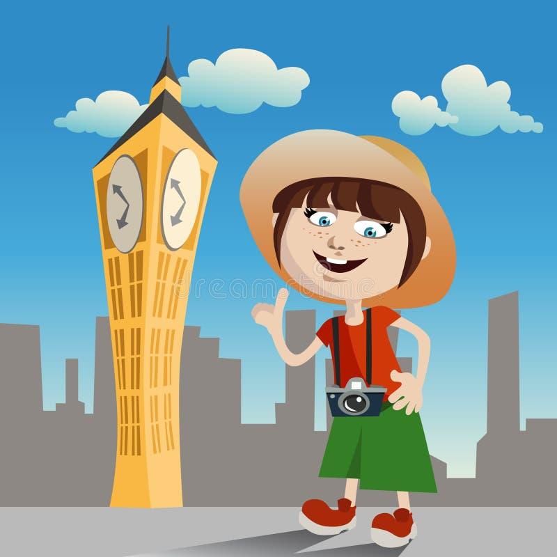 Tourist girl (clock tower) vector illustration