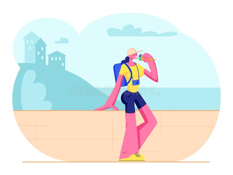 Tourist Girl with Photo Camera and Backpack Stand at Parapet Eating Ice Cream in Hot Weather Enjoying Beautiful Seascape stock illustration