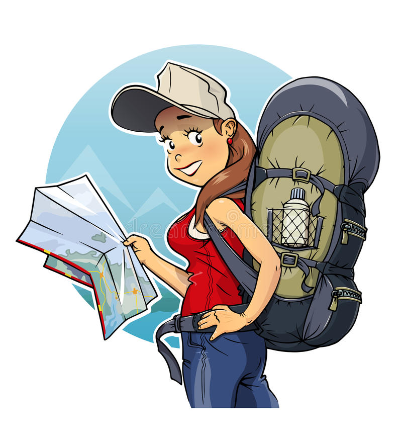 Tourist girl with rucksack and map vector illustration