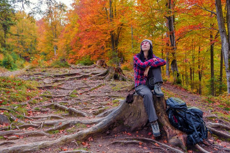 Tourist girl sits on a stump stock photography