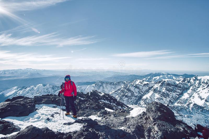 A tourist girl standing over Atlas mountains scenery stock images