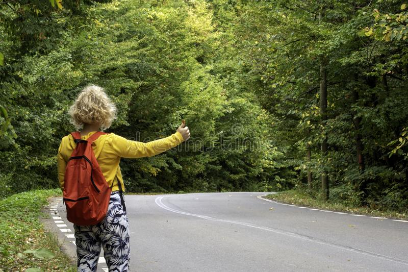 Tourist girl waiting for a hitch on a forest road. Closeup photo of woman hitchhiking on a forest road. Traveler concept stock image
