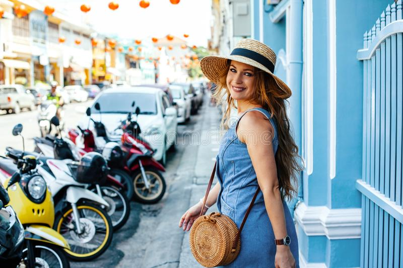 Girl travelling in Thailand royalty free stock photo