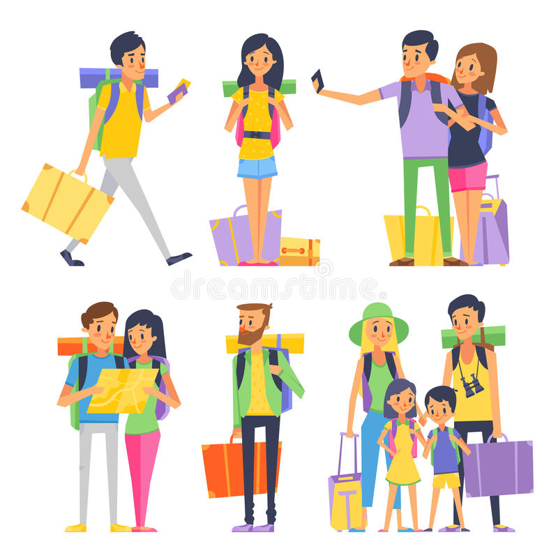 Tourist group of happy people goes to vacation. Couple or family with kids in traveling. Vector illustration vector illustration
