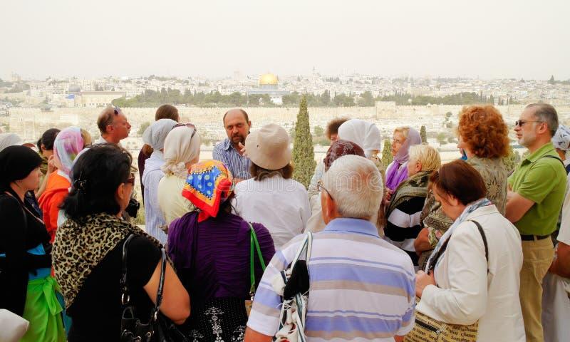 Tourist group in Jerusalem royalty free stock image